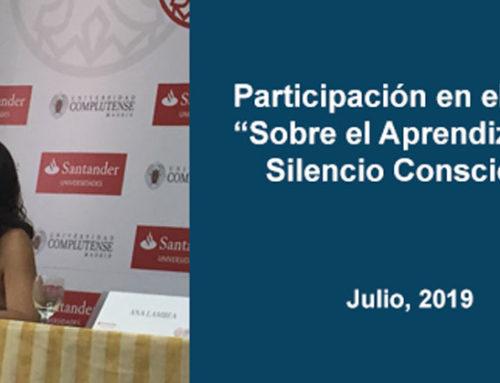 """Participación en el curso """"Sobre el Aprendizaje del Silencio Consciente"""" (UCM)."""